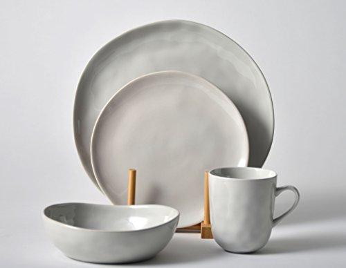 Pangu Porcelain Light Grey 4-Piece Dinner Set For 1 Place Dinner Ware With Handmade Irregular Shape Look