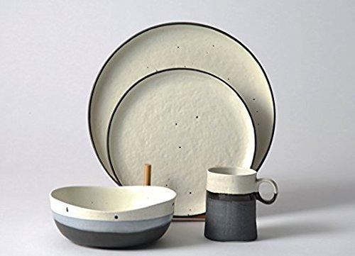 Pangu Porcelain Japanese style 4-Piece Dinner Set For 1 Place Dinner Ware With Handmade Irregular Shape Look