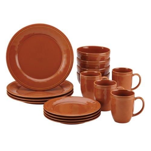 Rachael Ray Cucina 16-Piece Stoneware Dinnerware Set Pumpkin Orange