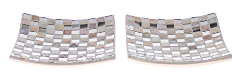 JustNile Modern Ceramic Serving Tray - 2-piece Set White Square Mosaic