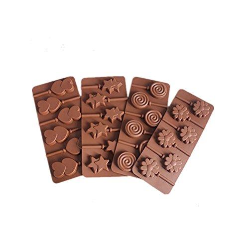 Lushagina Set of 4 Silicone Lollipop Mold 6 Cavity Holes Chocolate Mold Double Star Hearts Flower Swirl