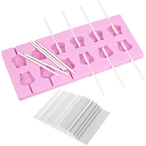 V-fox 12-Capacity Cartoon Cow Silicone Lollipop Molds with 100 count Lollypop Sucker Sticks