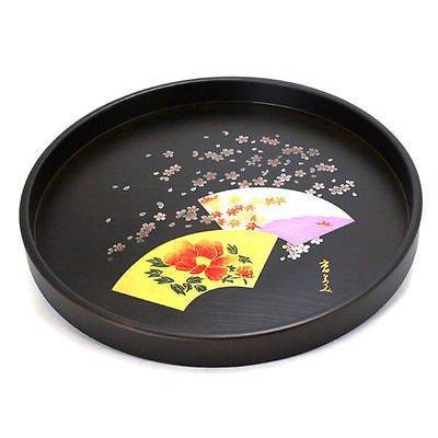 Japanese 12 Diameter Round Black Lacquer ICHITA HIROMI Fan Tea Food Serving Tray