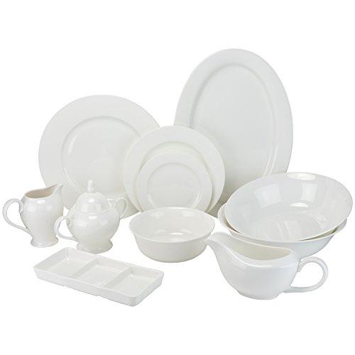10 Strawberry Street BONE-3200RD Bone China 32 Piece Dinnerware Set Service for 6 White