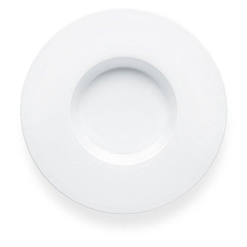 Bon Chef 5000012B Wide Rim 11 Inch x 11 Inch x 15 Inch Round Super Wide Rim Pasta Plate Bone China Dinnerware Pack of 12