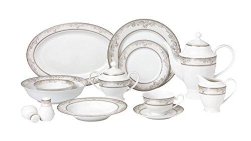 Lorren Home Trends 57 Piece Juliette Bone China Dinnerware Set Service for 8 People Silver