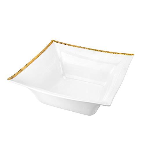 Royalty Porcelain Elegant Square Salad Bowl Bone China Dinnerware Gold