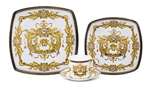 Royalty Porcelain Fancy Square Greek Key 16-pc Dinnerware Set Medusa White Premium Bone China