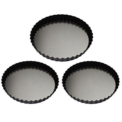 Quiche Pans Yamix 3Pcs Set Non-stick Quiche Tart Pan Tart Pie Pan Round Tart Quiche Pan With Removable Bottom799411