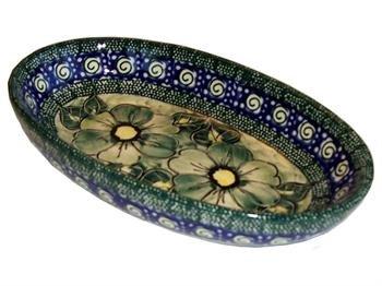 Polish Pottery Small Oval Baker - Green Garden