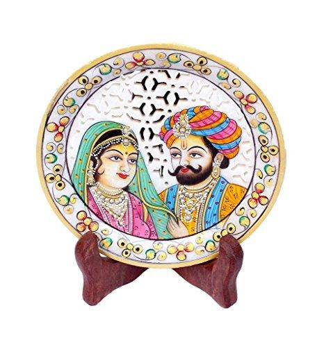 Crafticia Craft Rajasthani Handicraft Marble Decorative Plate Decorative Platter Stoneware Showpiece With Wooden Holder Pack Of 2 Standard White