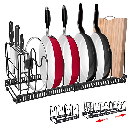 Expandable Pan Rack Organizer with Knife HolderG-TING 7Adjustable Pot Lid Holders Bakeware RackKitchen Cookware Pantry Cabinet Storage Rack with 7 Expandable Adjustable Dividers Up to 23 Black