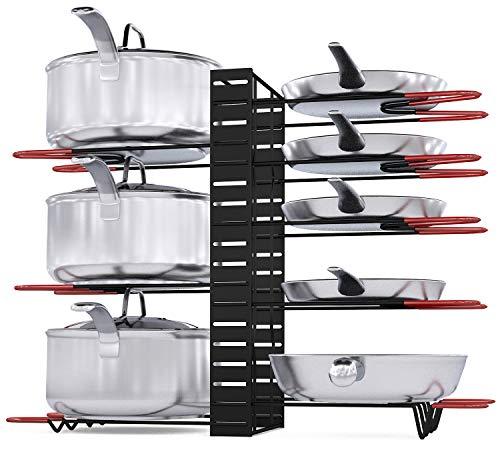 Pot Rack Organizer 3 DIY Methods Height and Position are Adjustable 8 Pots Holder Black Metal Kitchen Cabinet Pantry Pot Lid Holder