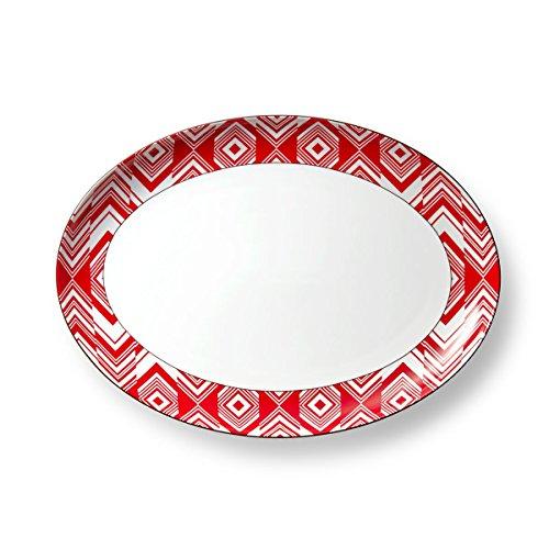 B by Brandie PLPR2804 Eva Porcelain Platter 13 RedDark Gray