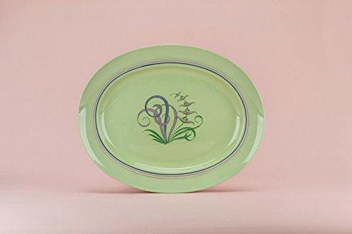 Mid-century Modern Vintage Floral Spode Porcelain PLATTER Service Green Elegant Cheese Dinner English 1950s LS