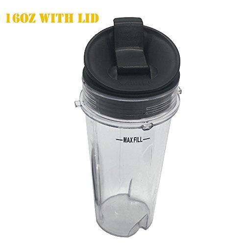 1 Pack 16-Ounce 16 oz Cup with Sip Seal Lid Fit for Nutri Ninja blender series with BL200BL201BL660BL663BL663COBL665QBL771BL773COBL810BL820BL830QB3000QB3000SSWQB3004QB3005