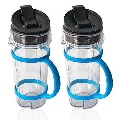 ELEFOCUS 2 PACK 16oz Cup for Nutri Ninja Blender 16oz Cup W Lid  Blue Water Bottle Handheld Carrier2 Pack for BL770 BL780 BL810 BL820 BL830 BL660 BL663 Pro 4 Tab Blenders