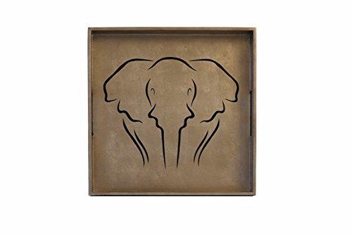 J Fleet Designs Square Espresso Cocktail Tray - Elephant Design