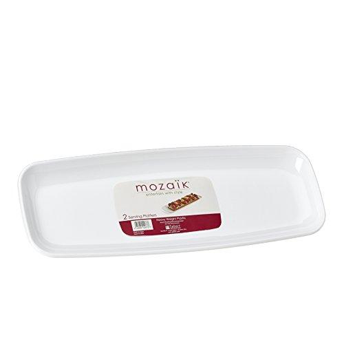 Mozaik White Rectangular Platter Set 2 Count Pack of 6