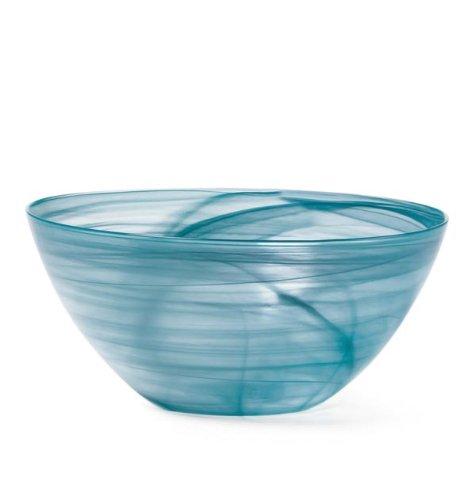 Mikasa Swirl Teal Glass Serving Bowl