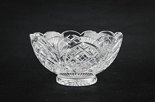 Vintage Classical Cut Glass Serving BOWL Retro Dinner Crystal Medium Crosshatch Gift English Late 20th Century LS