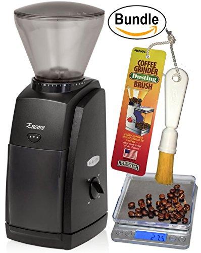 Baratza Encore Conical Burr Coffee Grinder CoastLine Digital Kitchen Scale and Coffee Grinder Brush