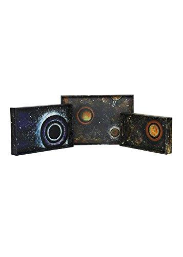 Designer Handpainted Breakfast Serving Tray Set Kitchen Dining Platter Secrets of Universe Set of 3