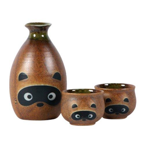 New Japanese Sake Set W/2 Cups Tanuki/raccoon
