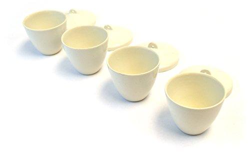 Scientific Grade Sake Set, Glazed Porcelain (8 Pieces - 4 Cups And 4 Lids)