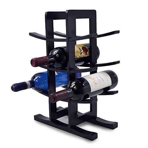 Sorbus Bamboo Wine Rack - Holds 12 Bottles of Your Favorite Wine - Sleek and Chic Looking Wine Rack Black