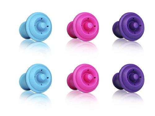 Vacu Vin Wine Saver Vacuum Stoppers Set of 6 - Purple  Blue  Pink