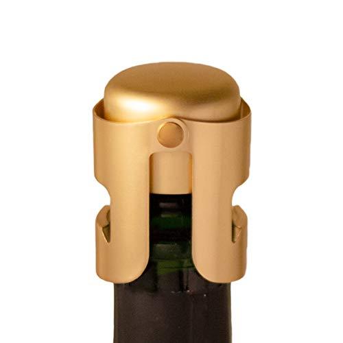 Gold Champagne Stopper Designed in France Bottle Sealer for Cava Prosecco Sparkling Wine Gold Plated No Sharp Edge Simple Design No Leaks No Spills Fizz Saver Passed 13 lbs Pressure Test