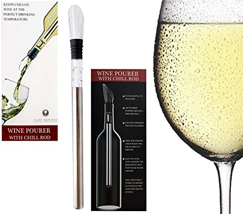 Mulberry Stone Cold Ice Wine Bottle Chiller 3-in1 Rapid Iceless Instant Signal Wine ChillerRod Portable Wine Chiller Rod Cooler with Aerator and Pourer