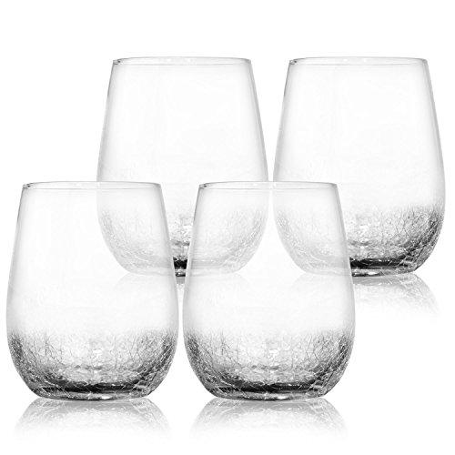 4 Pack Crackle Decorative Wine Glasses 15 oz- Elegant and Partially Crackled- Set of 4 Fancy Wine Glasses- Unique Handmade Design Sparkles Like Fractured Ice- Impressive for Red White Wine- Vintage