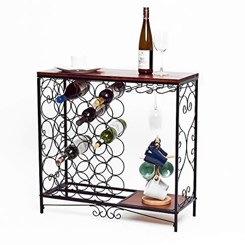 BENOSS Vintage Wine Storage Organizer Display RackIndustrial Wine Glass HolderFreestanding Wine Rack Table Bar Wine Cabinet for Kitchen Holds 24 Bottles
