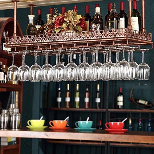 FURVOKIA Industrial Vintage Wine Glass Hanging RackBar Floating ShelfTableware Bottle Shelves for Kitchen or OfficeRetro Iron Upside Down Stemware Goblet Wine Glass Holder Red Copper 36L