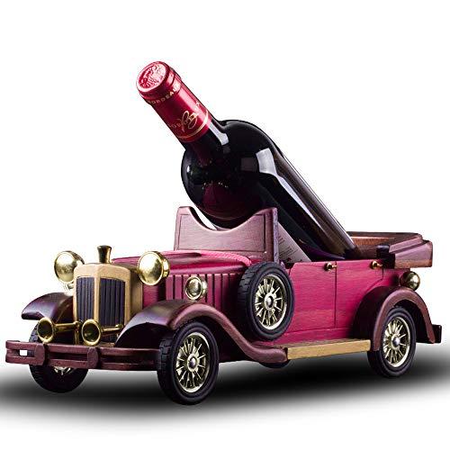 Yukuang Vintage car Wine Rack Size 154in 55in 51in Wooden Handmade Vintage Classic car Model Wine Rack Capacity 750ml Bottle red
