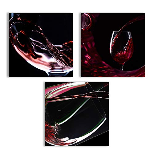 wall26 Canvas Wall Art Abstract Vintage Wine Cup Pictures Home Wall Decorations for Kitchen Streched and Framed - 12x12x3 Panels