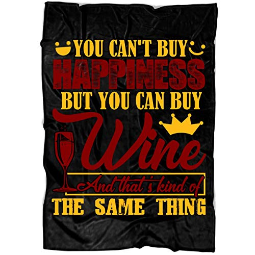 TUCSTORE You Can Buy Wine Soft Fleece Throw Blanket I Love Drinking Fleece Luxury Blanket Large Fleece Blanket 80x60 - Black