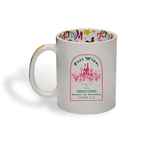 Ceramic Christmas Coffee Mug Port Wine Vintage Look Food Beverage Funny Tea Cup