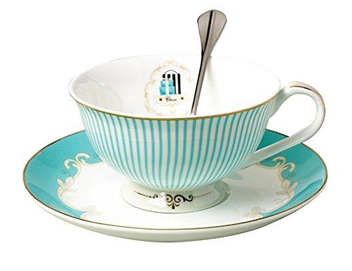 Jsaron China Vintage Procelain Navy Blue Teacup Spoon And Saucer Coffee Set