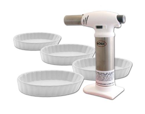 Rösle Crème Brûlée 5 Piece Set Rösle Kitchen Torch  4 Oval Crème Brûlée Dishes