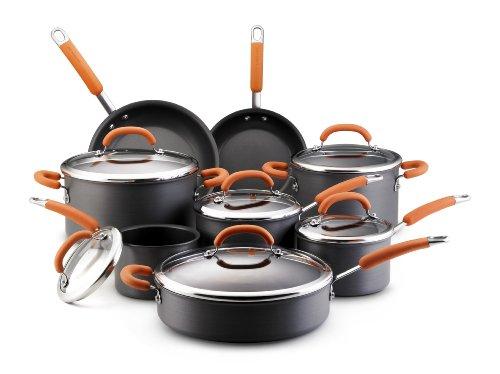 Rachael Ray Hard Anodized Nonstick 14-Piece Cookware Set Orange