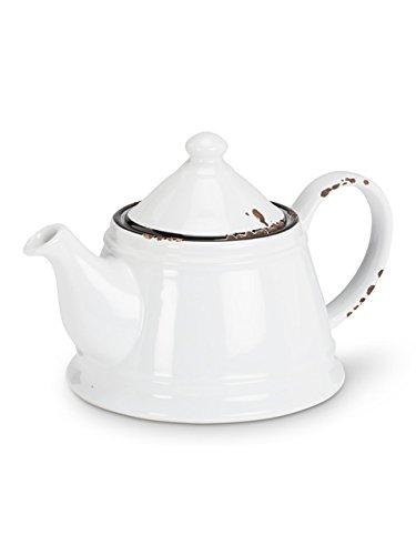 Abbott Collection Enamel Look Stoneware Teapot White