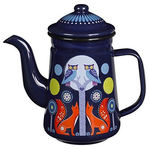 Folklore Enamel Coffee Pot Night Design Blue 33 Ounces