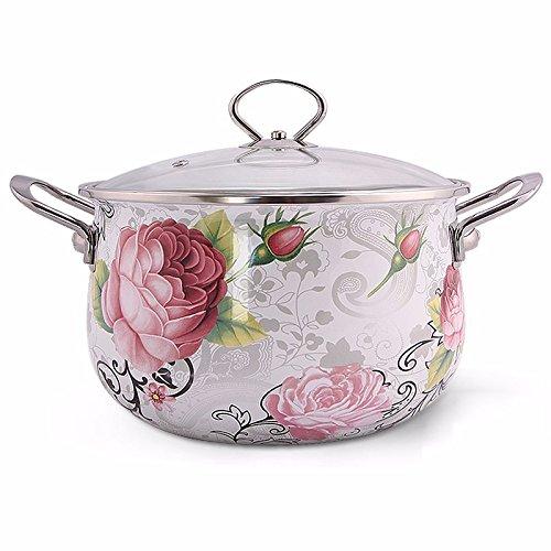 Heidong Enamel pot double ear soup pot thickened home pink peony 24cm