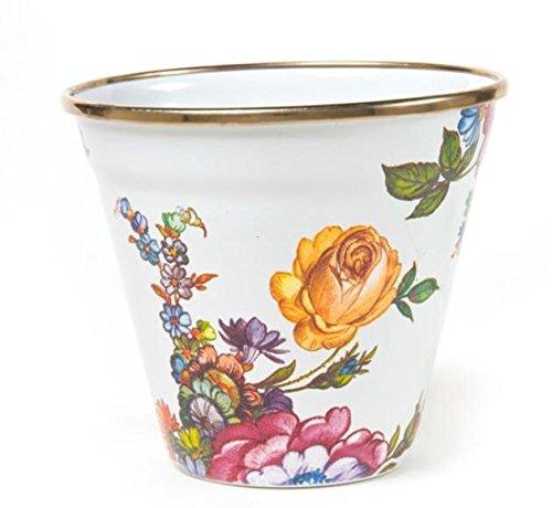 MacKenzie-Childs Flower Market Enamel Pot - White