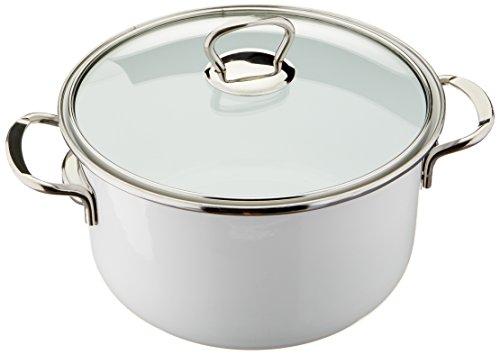 Uniware Premium Line Deep Straight Enamel Pot 8 White