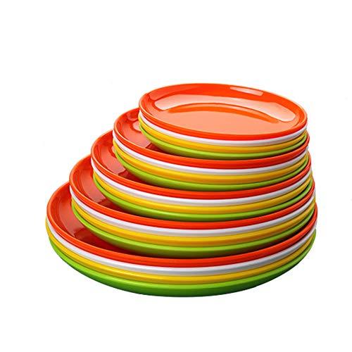 4pcs Set Unbreakable A5 Melamine Food Plate Dish Saucer Durable Dinner Plates Dinnerware Dishes Imitation Ceramic Utensil 8 Inch White Green Yellow Orange