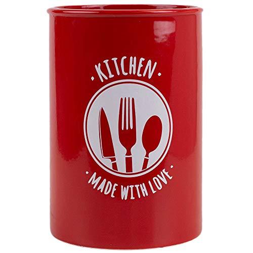 Home Basics Kitchen Made with Love Ceramic Utensil Flatware Storage Organizer Crock Red